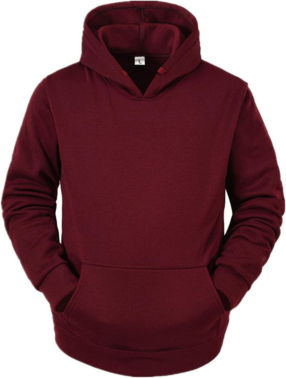 Men's Fashion Novelty Hoodies Crewneck Solid Pullover Midweight Long Sleeve T-Shirt Casual Sport Sweatshirts with Pocket