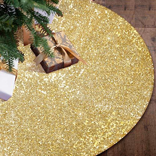yuboo Gold Christmas Tree Skirt,48