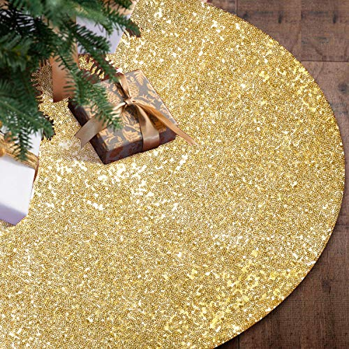 "Gold Christmas Tree Skirt,48"" Sequin Double Layers Tree Mat Xmas Tree Decorations"