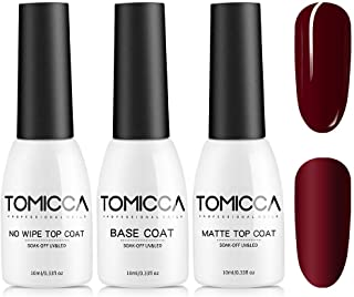TOMICCA Matte Top Coat and High Gloss Top Coat Base Coat Set Soak off UV LED Gel Nail Polish-10ML 3 Bottles