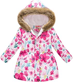 Girls' Floral Quilted Padded Winter Coat with Faux Fur Trim Hood