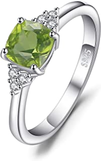 JewelryPalace Luxry Genuine Gemstone Peridot Oval Cushion Ring 925 Sterling Silver