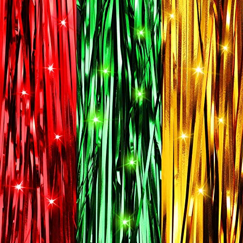 Christmas Shimmer Tinsel Icicles Decorations 18 Inch Xmas Tree Tinsel Foil Fringe Icicles Christmas Iridescent Tinsel Foil Fringes for Xmas Holiday Decor (Red, Gold, Green,6000 Strands)