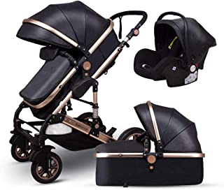 Anti-Shock Baby Stroller 3 in 1,Babyfond Convertible Bassinet to Toddler Stroller,Reinforced Frame for Safety,Vista Pram,Quick Fold Baby Carriage(2019 Upgrade Edition Black PU)