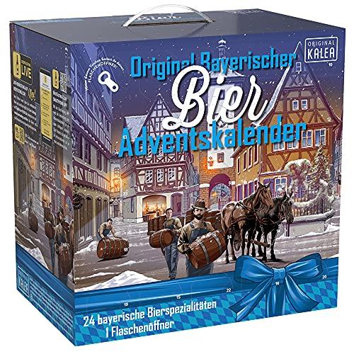 KALEA Bier-Adventskalender, 24 x 0,33 L Bierspezialitäten von Privatbrauereien aus Bayern und 1 Flaschenöffner, Neuheit 2021, Biergeschenk zur Vorweihnachtszeit für alle Bierliebhaber