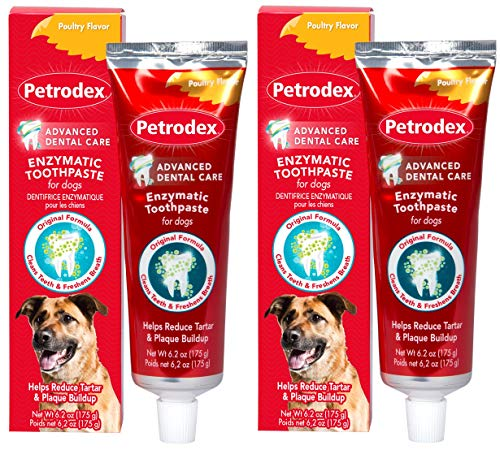 Petrodex Enzymatic Toothpaste for Dogs Helps Reduce Tartar and Plaque Buildup Poultry Flavor 2 Pack