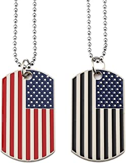 2pcs American Flag USA Patriot Necklace Pendant Jewelry Army Card Stainless Steel Dog Tags 28''
