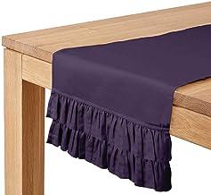 Vargottam Purple Home Décor Cotton Slub Fabric Solid Double Frill Table Runner Table Décor-14 x 144 Inch