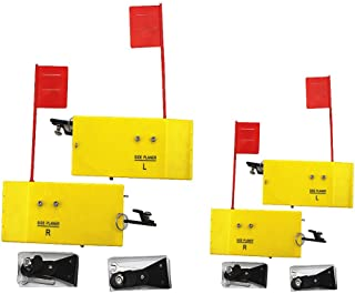 Krazywolf Planer Board (P009 & P007),Includes Spring Flag System,Left&Right L8 xW3 & L10 xW3.5``,2 Pairs,Yellow