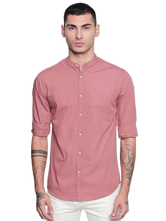 Dennis Lingo Men\'s Solid Slim Fit Casual Shirt Shirts
