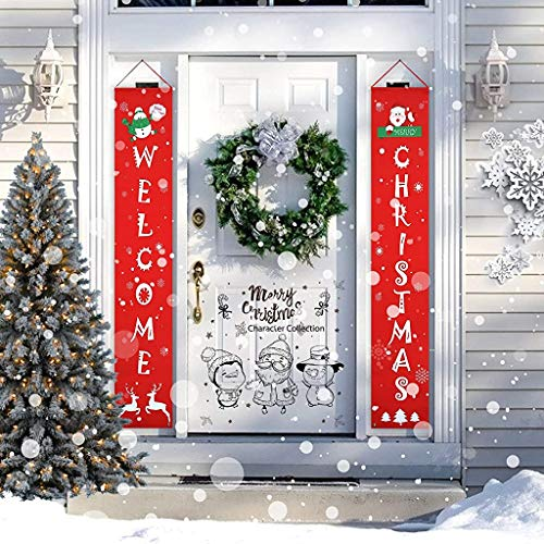 Merry Christmas Banner Christmas Decorations, 2 PCS Christmas Front Porch Sign Flags Decorations Indoor Outdoor Front Door for Holiday Party Home Wall Decorations