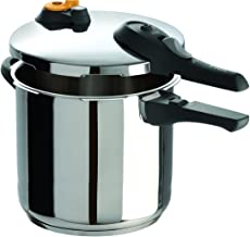 T-fal P25144 Stainless Steel Dishwasher Safe PTFE PFOA and Cadmium Free 10 / 15-PSI Pressure Cooker Cookware, 8.5-Quart, Silver - 7114000516