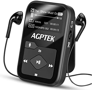 Clip MP3 Player with Bluetooth,16GB Mini Sport Music Player with Headphones, FM Radio,Voice Recorder, TF up to 128GB by AG...
