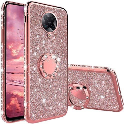 Funda para Xiaomi Poco F2 Pro, Glitter Brillante Diamante con 360 Grado Anillo Kickstand Ultra Delgada Premium Fina Resistente Silicona TPU Doble Capa Anti Choques Protectora Carcasa - Rosa