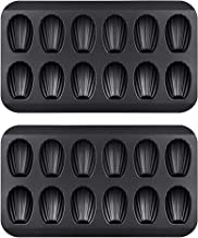 Chengcaifengye Chengcaifengye 2 Pack Nonstick Madeleine Pan, 12 Cavity Shell Shape Carbon Steel Baking Cake Mold Pan, FDA Approved for Oven Baking(2 Pack Black)