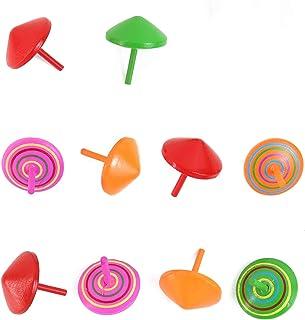 Framendino, 10 Pack Colorful Handmade Painted Wood Gyroscopes Standard Spinning Tops for Kids Children