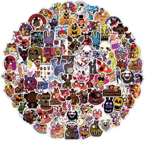 Spiro Five Nights at Fredd_y's Stickers Merchandise 100 PCS FNAF Stickers Cool Gaming Stickers, Water Bottles Vinyl Waterproof Stickers for Water Bottle and Laptop DIY Decorative Gift