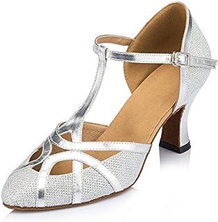 160be1fb94e TDA Womens T-Strap Glitter Synthetic Salsa Tango Ballroom Latin Party Dance  Shoes CM101