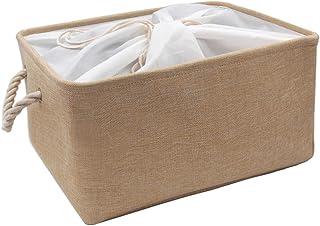 Mangata Waschbare zusammenklappbare Verdickte Segeltuch Stoff Aufbewahrungsbox mit Kordelzug XLarge, Beige