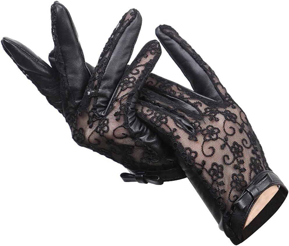YYOBK SHt Women's Leather Gloves Spring and Autumn Thin Sheepskin Black Lace Gloves, Sexy Fashion Bow Women's Gloves (Size : Medium)