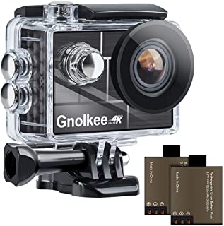 "Gnolkee 4K 12MP WiFi Action Camera, 100 Feet Professional Waterproof Camera with 170 Ultra Wide Angle Lens, 2"" IPS Screen ..."