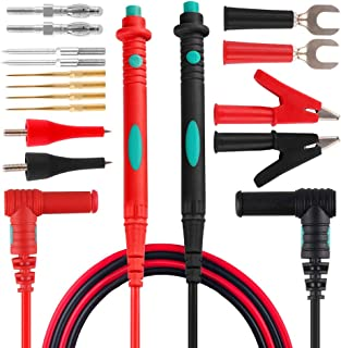 Micsoa Multimeter Test Leads Kit, Digital Multimeter Leads with Alligator Clips Replaceable Multimeter Probes Tips Set of 16