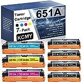 7-Pack (4BK+1C+1M+1Y) 651A RemanufacturedToner Cartridge Compatible Replacement for HP 651A | CE340A CE341A CE342A CE343A Laserjet Enterprise 700 Color MFP M775dn(CC522A) M775f(CC523A) Printer Toner