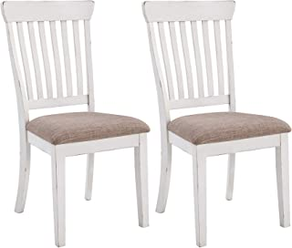 Signature Design By Ashley - Danbeck Dining Upholstered Side Chair - Set of 2 - Casual Style - Chipped White