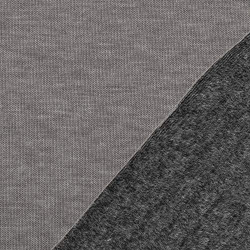 Die Stofftante Alpenfleece Kuschelsweat Alfons grau-grau 50x145 cm Meterware
