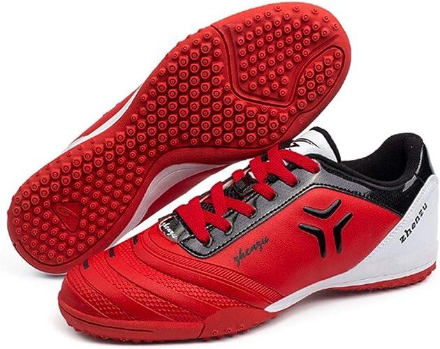 CELINEZL Le Football Brille Zhenzu Chaussures de Football en PU, entraîneHommest Professionnel en Plein air, Taille EU  38 (Rouge)
