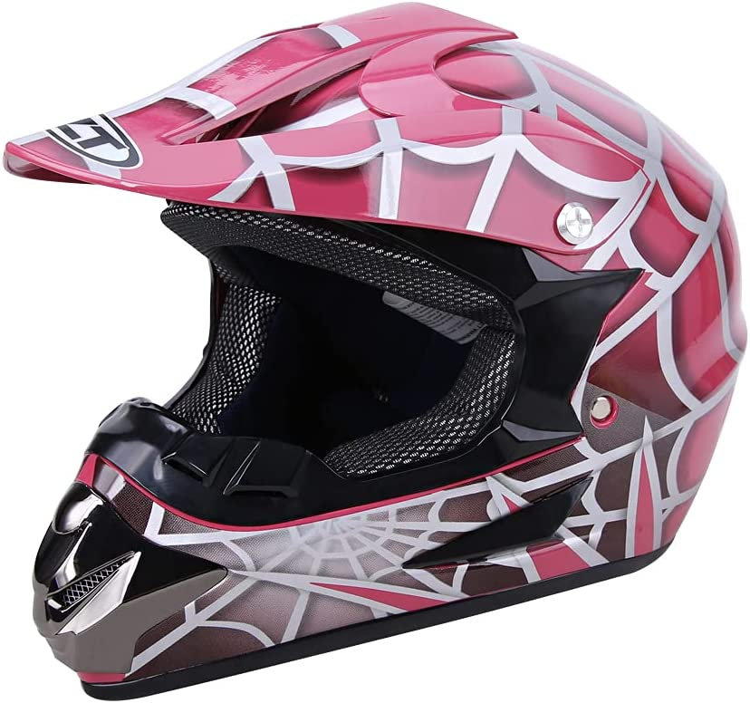 OUMURS Youth Kids Full Face Our shop most popular Complete Free Shipping Helmet Spider Red Pink DOT FMVSS-218