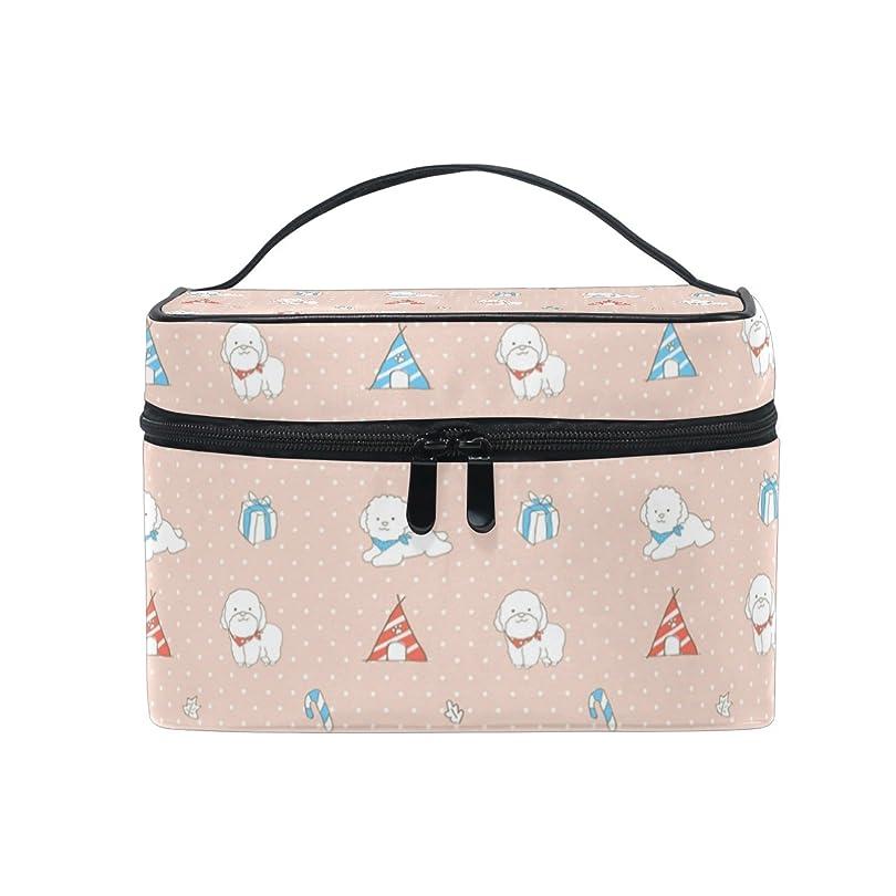 スタック地平線フェローシップALAZA 化粧ポーチ 犬柄 いぬ柄 化粧 メイクボックス 収納用品 ピンク 大きめ かわいい