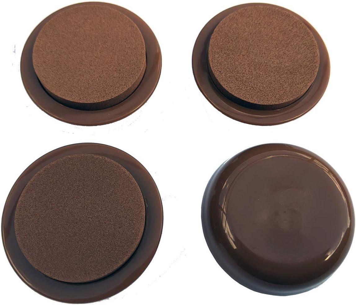 EZ Moves Permanent Furniture Slides for Carpet, Round, Light Brown (Set of 4)