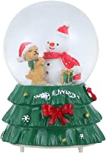 oshhni Resina 3D Neve Globe Music Box Vintage Bateria Acumulada Snowflake para Crianças Natal New Year Presentes Decoração...