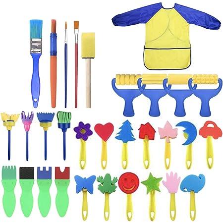 Jinxuny 31pcs//lot Kids Painting Brushes Kit Child Early Learning DIY Sponge Brushes Long Sleeve Waterproof Apron Set