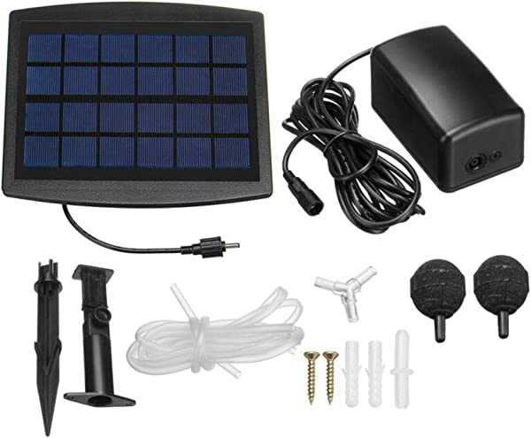 Stzonece Solar Powered Oxygenator Pond Water Oxygen Pump 2 Air Stone Aerator Fish Tank UK For Fish Pond Aquaculture Hydroponics