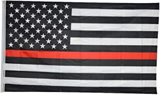 Thin Red Line Flag 3x5 Foot Black White and Red American Flag Honoring Firefighters and EMTs