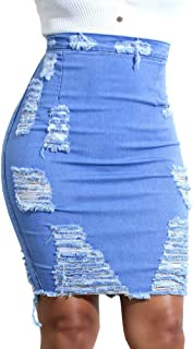 Women's Casual Denim Pencil Skirt Super Comfy Ripped Holes Stretch Skirts