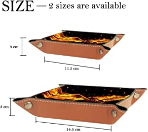 Flaming Bald Eagle Valet Tray Storage Organizer Box Coin Tray Key Tray Nightstand Desk Microfiber Leather Pouch,16x16cm