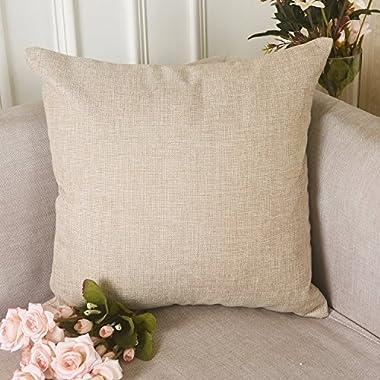 HOME BRILLIANT Burlap Solid Linen European Throw Pillow Sham Cushion Cover for Bench, 20 x20 , Light Linen