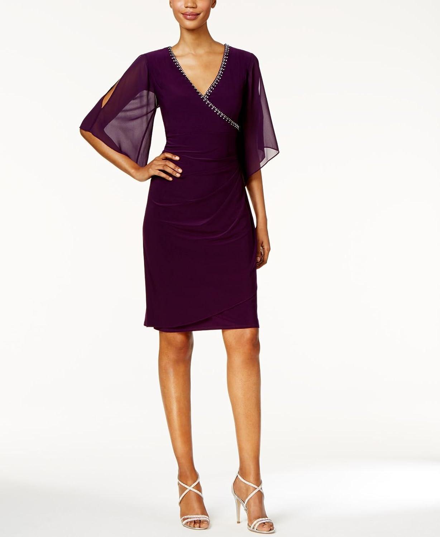 MSK Womens Embellished Illusion Cocktail Dress
