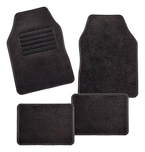 CarFashion 257704 Misano, Universal Velour, Automatte für Fast alle Auto, 4-teiliges Fussmatten Set mit schwarzer Einfassung