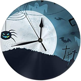 TCLAND Blue Halloween Background with Scary Spider Silent Non-Ticking Round Home Decor Wall Clock 10 Inch