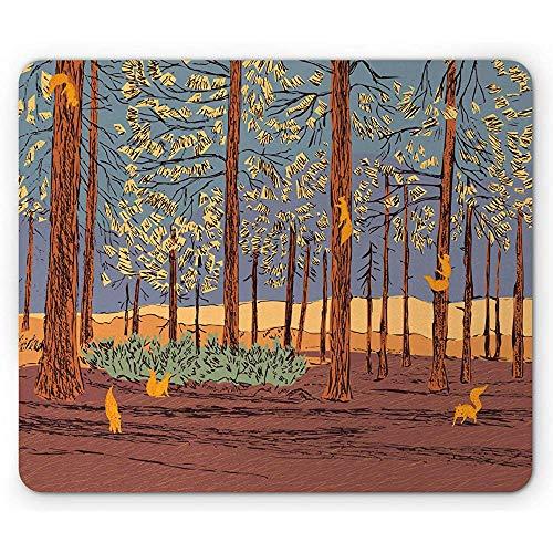 Eekhoorn dennenbos dieren in de herfst klimmen bomen schilderen als, anti-slip rubber muismat, 25x30cm bleke chocolade en goudsbloem