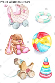 KwikMedia Poster of Watercolor Hand-Drawn Children's Toys - a Stroller, a Rattle, a Plush Bunny, a Ball, a Dog, a Pyramid. Baby Toys for Girls Isolated on White Background.