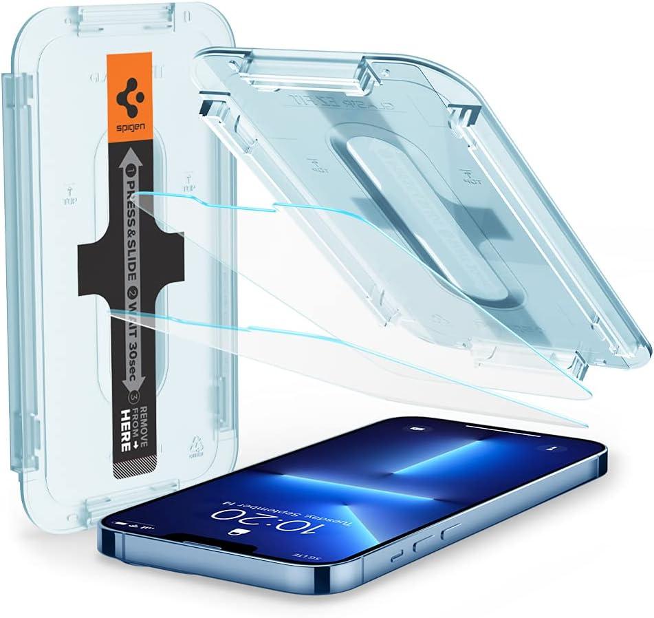 Spigen EZ Fit Protector Pantalla para iPhone 13 Pro MAX, Alta Definicion, Dureza 9H - 2 Unidades