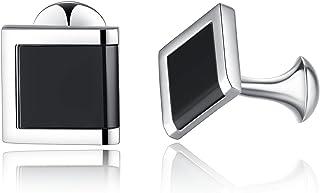 Honey Bear Cufflinks For Mens - Rectangle Stainless Steel Black, for Business Wedding Gift