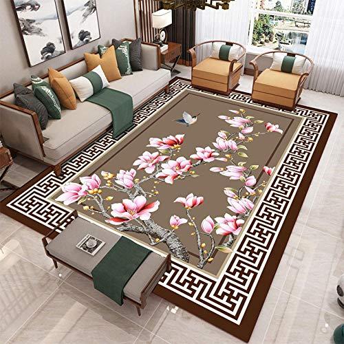 HXJHWB Alfombra Varias Dimensiones - Té de sofá de Sala de Estar Varios clásicos étnicos Flores de Viento 3D Imprimir Alfombra Borde Frontera-160cmx230cm