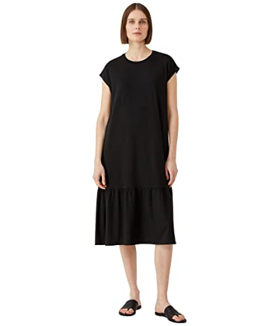 Eileen Fisher Crew Neck Gathered Full-Length Dress in Fine Jersey