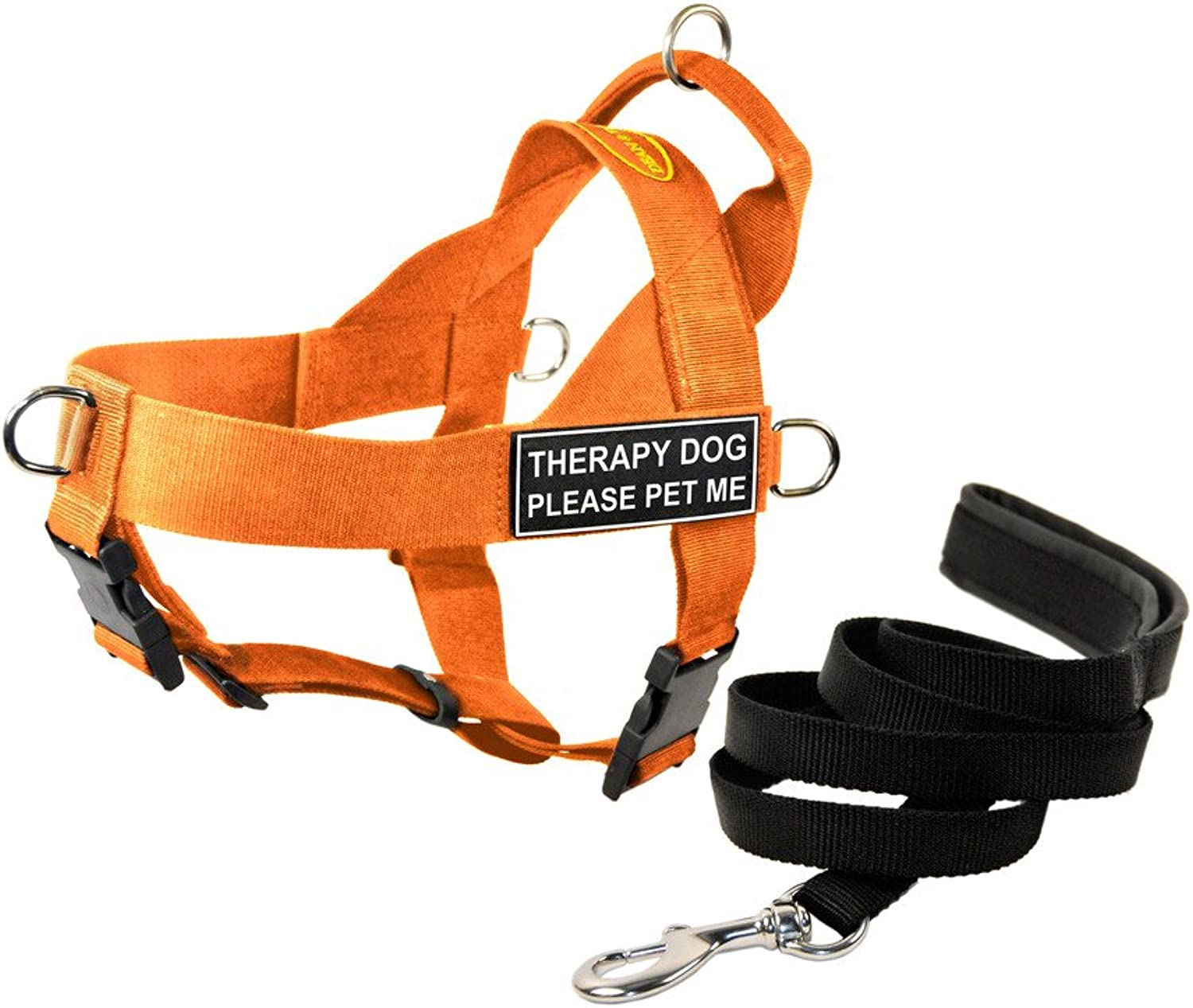 Dean & Tyler DT Dog Harness with Therapy Dog Please Pet Me Patches and Leash, orange, XLarge